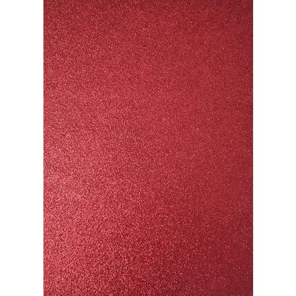 Kahepoolne glitterkartong A4 punane