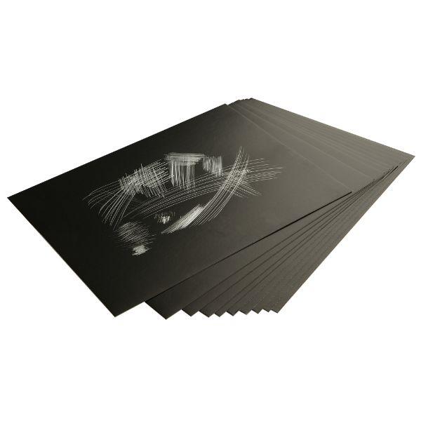 Hõbedase fooliumiga kraapelehed 305 × 229 mm