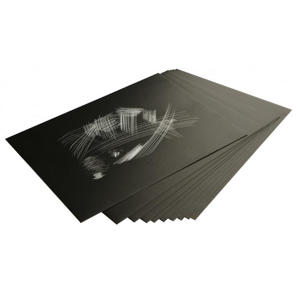 Hõbedase fooliumiga kraapelehed 229 × 152 mm